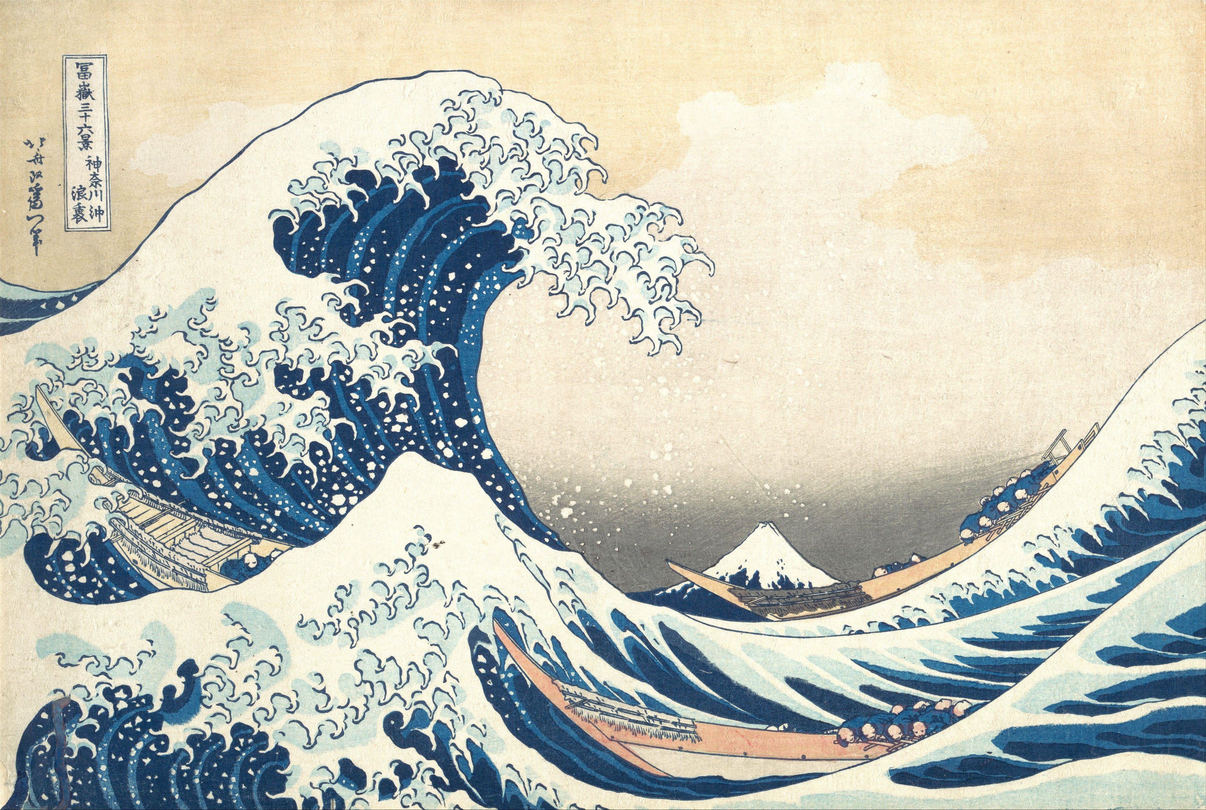 Ocean Wave Illustration Japan Artwork 4k Wallpaper Hdwallpaper Desktop Japanese Woodblock Printing Wave Painting Most Famous Paintings