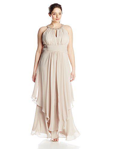 eliza j women's plus-size beaded halter flyaway dress, champagne