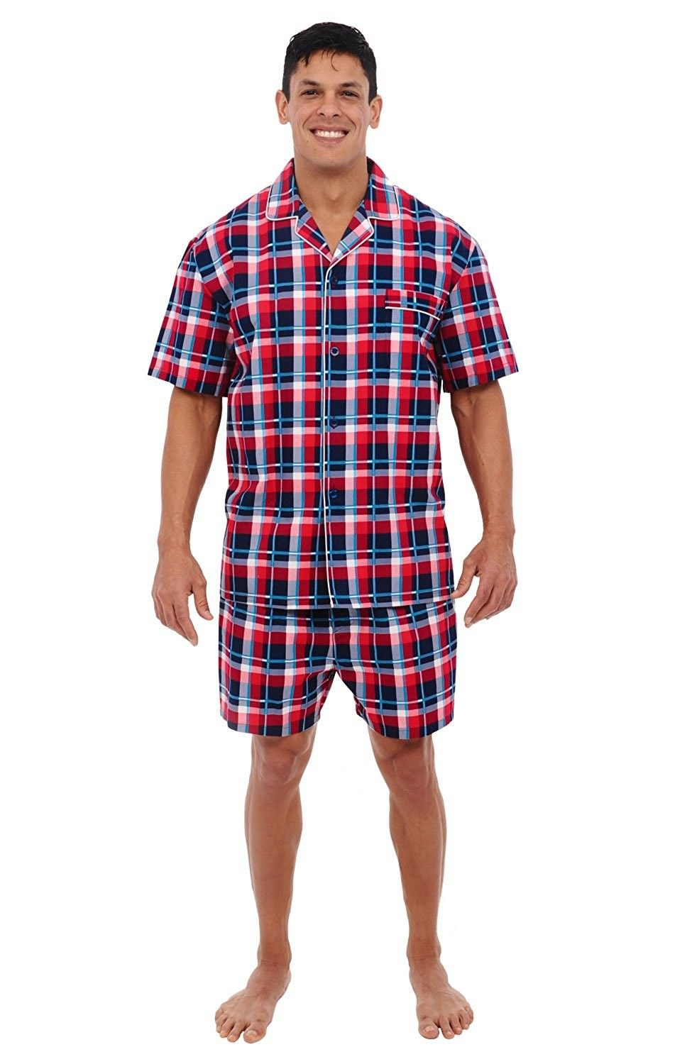 f82eec1f36 Mens Cotton Pajamas- Short Button-Down Woven PJ Set - Red Plaid With White  Piping - CJ12607FFXZ