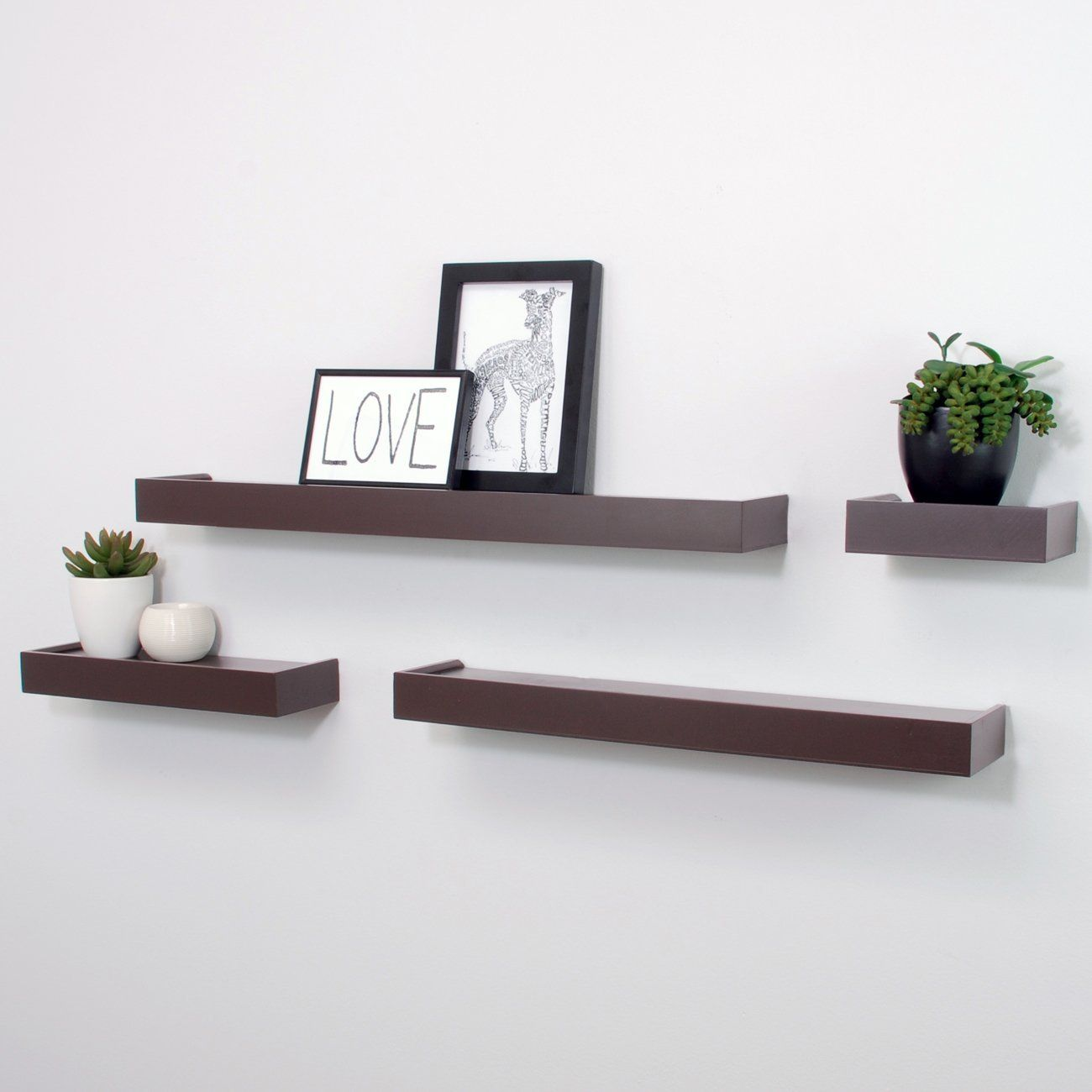 Amazon Com Nexxt Vertigo Set Of 4 Ledge Shelves 6 Inch 12 Inch 20 Inch 24 Inch Espress Floating Shelves Diy Rustic Floating Shelves Wall Mounted Shelves