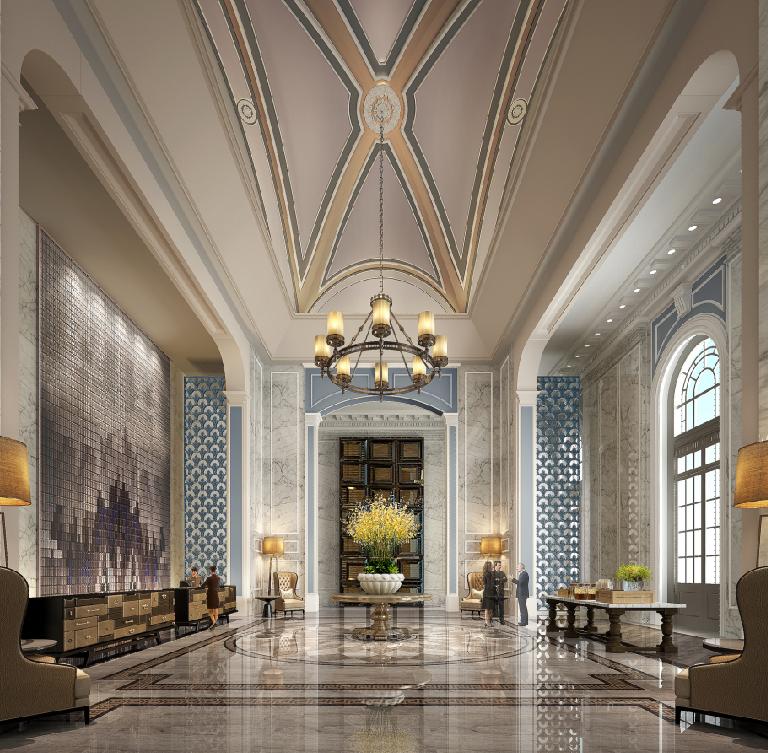 Pin by kimi on hotel hotel lobby interior design hotel for Hotel foyer decor