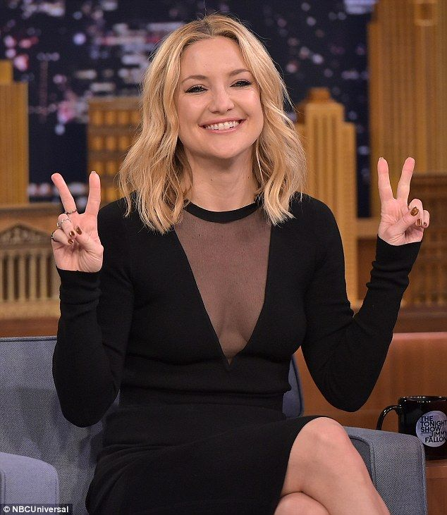 Kate Hudson wows in black dress with plunging see-through neckline ...