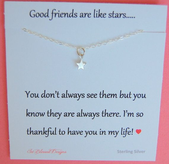 Best Friend Star Necklace Graduation Gift Tiny Sterling Silver For Good Friends Are Like Stars Poem