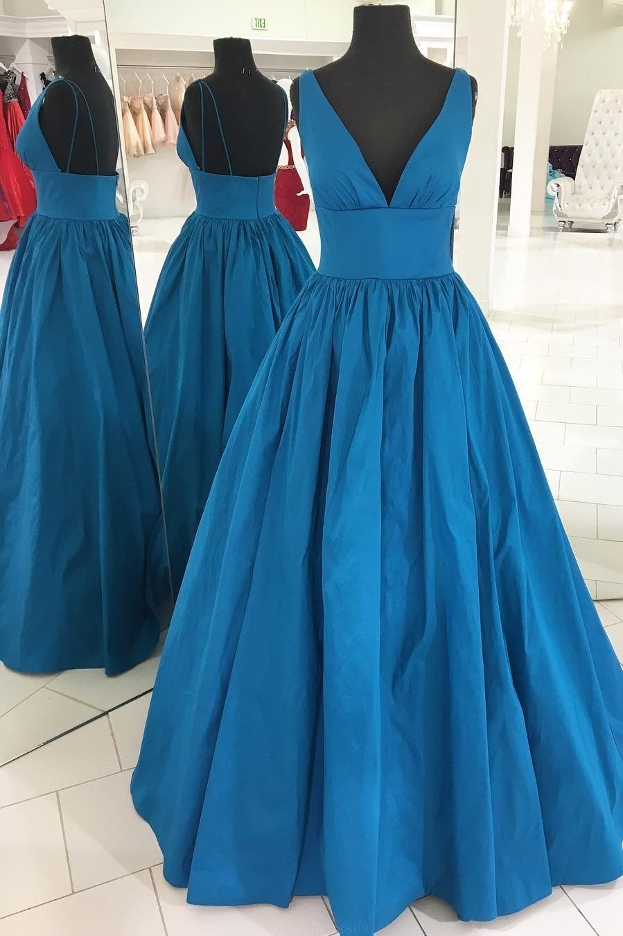Nice blue prom dresses gorgeous v neck empire blue long prom dress