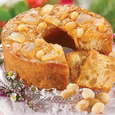 What a combination of flavors, like celebrating in Hawaii! This luscious, golden cake is rich with candied chunks of sun-ripened pineapple and tender-crisp, tropical macadamia nuts plentifully blended in rich, moist cake. So exotic, so mouthwatering, you'll serve it with pride to everyone!