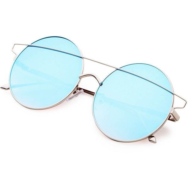 0d749fd686 SheIn(sheinside) Blue Double Bridge Round Sunglasses ( 11) ❤ liked on Polyvore  featuring accessories