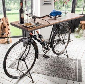 Fahrrad Fahrradtisch Konsolentisch Einrichtungsidee Wohnideen Empfgangstisch Flur Diele Lobby Mobel Mobel Aus Autoteilen Deko Fahrrad Recycling Mobel