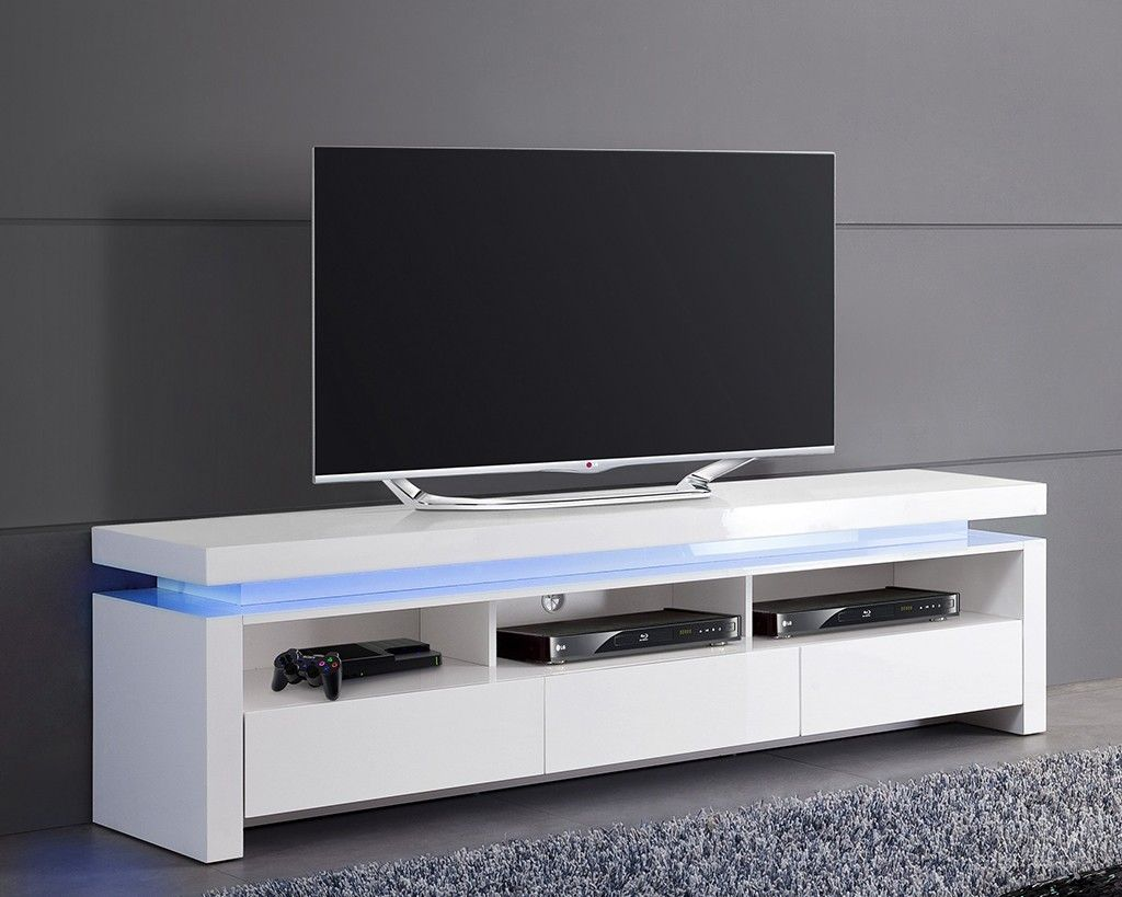 Meuble tv blanc laqu lumineux 3 tiroirs tvs design for Meuble tv blanc design