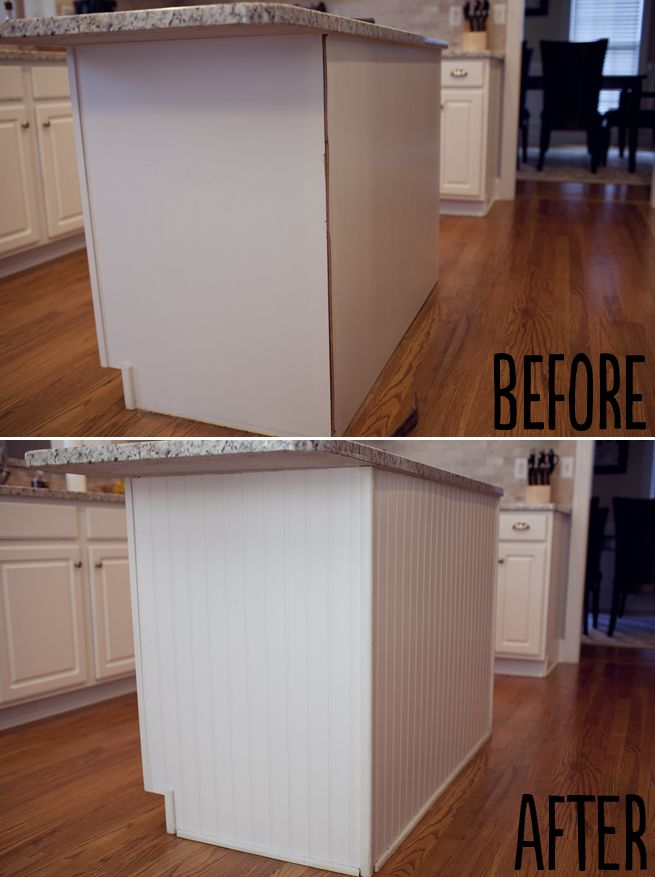 Put beadbord on the ends of cabinets when we paint them ...