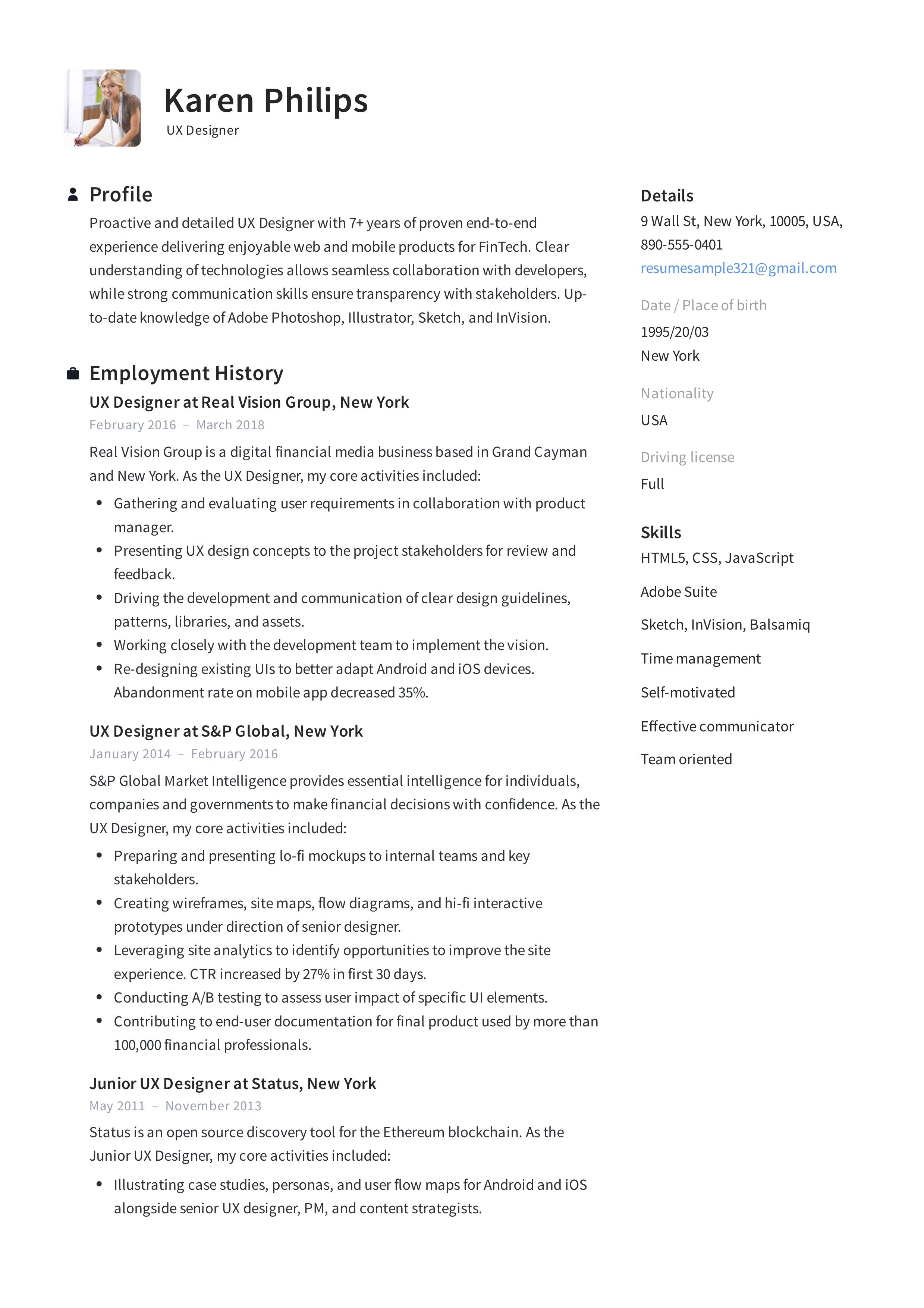 UX Designer Resume Example, Template, Sample, CV, Formal
