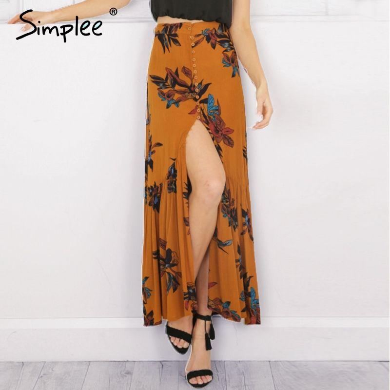 7a804ea34199 Simplee High waist boho print long skirt Women split maxi skirt floral  print beach skirt Female chic vintage 2017 summer skirt-in Skirts from  Women s ...