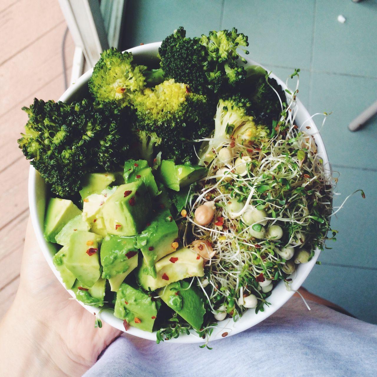 onehappyvegan:   Steamed broccoli, avocado, &... - The Black Workshop