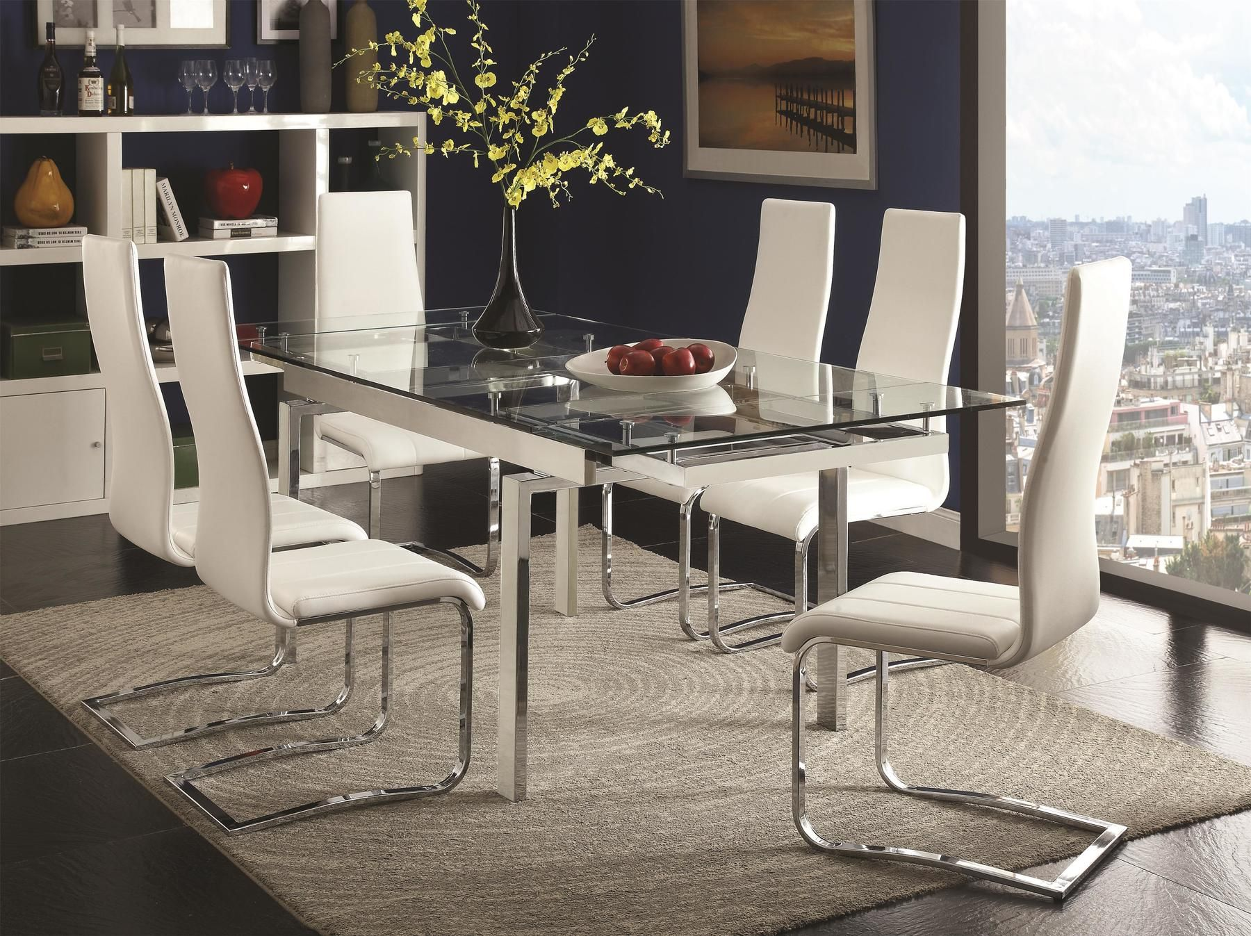 Coaster Wexford White Glass Chrome Modern Extension Dining Table Contemporary Dining Room Sets Metal Dining Table Glass Dining Room Sets