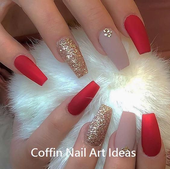 Nail Art Christmas The Festive Spirit On The Nails Over 70 Creative Ideas And Tutorials Coffin Nails Designs Solid Color Nails Red Acrylic Nails