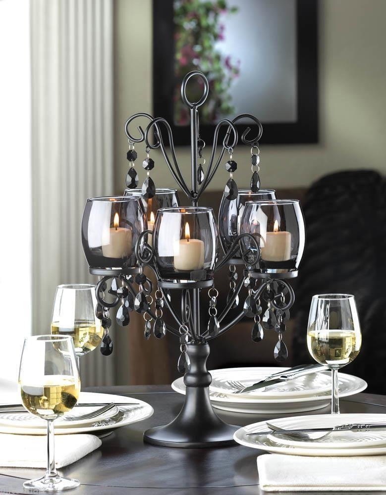 Large 17 Tall Black Prism Chandelier Candelabra Candle Holder Table Centerpiece