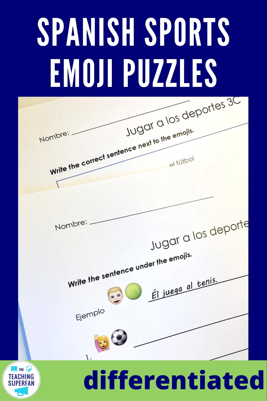 Spanish Sports Worksheets Spanish Teaching Resources Vocab Emoji Puzzle [ 1500 x 1000 Pixel ]