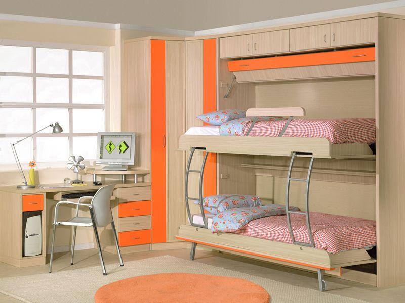 Dormitorio juvenil para espacios peque os con literas - Habitaciones juveniles espacios pequenos ...