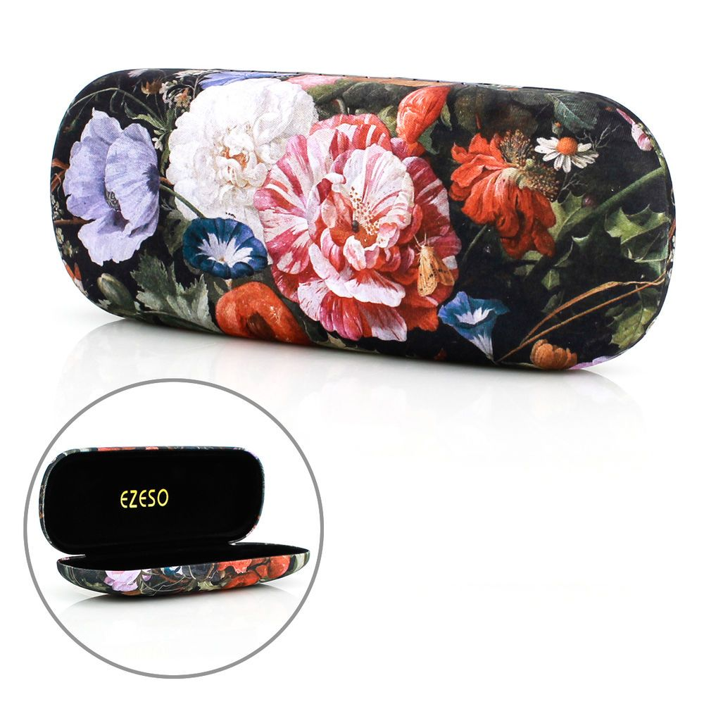 Vintage Floral Metal Hard Eye Glasses Case Hard Box Eyewear Protector Holder New #Unbranded