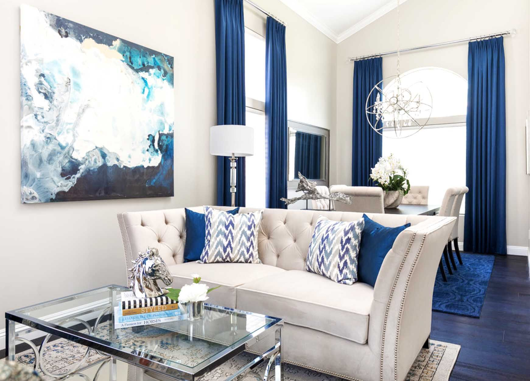 Best Gorgeous Blue And White Glam Living Room Decor With 400 x 300