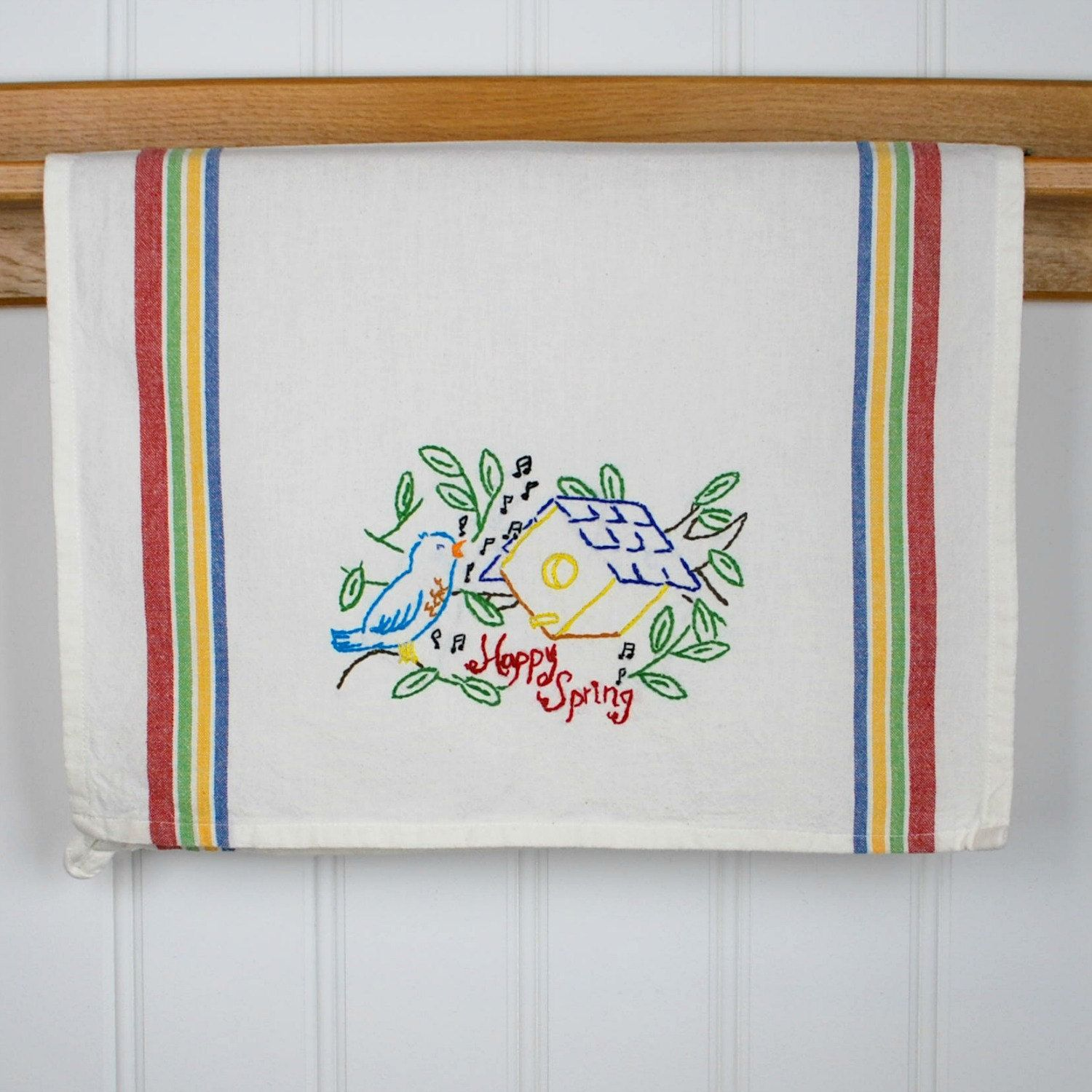 Hand Embroidered Tea Towel - Kitchen Towel - Embroidered Dish Towel ...