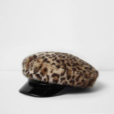River Island Womens Brown leopard print faux fur baker boy hat ... a6ab84587f