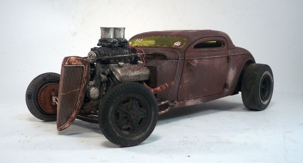 1934 Ford Coupe Rat Rod Barn Find Rusty Drag Car 1 18 Custom GMP Weathered