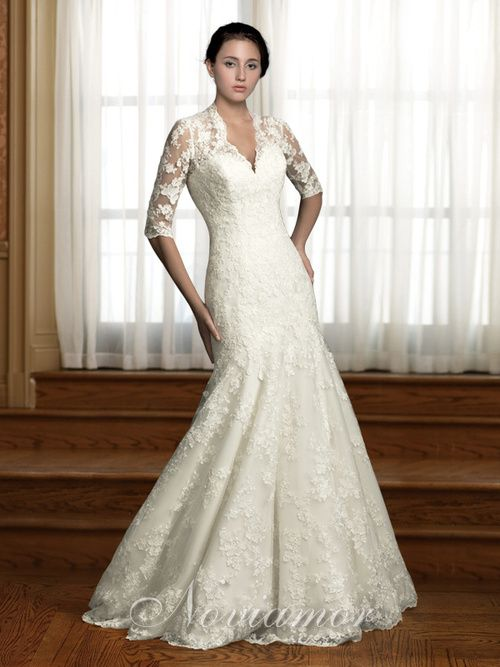 A Line 1 2 Lace Sleeves V Neck Winter Wedding Dress P Nw1001 Large