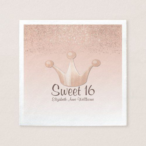 Monogram Paper Napkins Uk: Rose Gold Crown Sweet 16 Paper Napkins