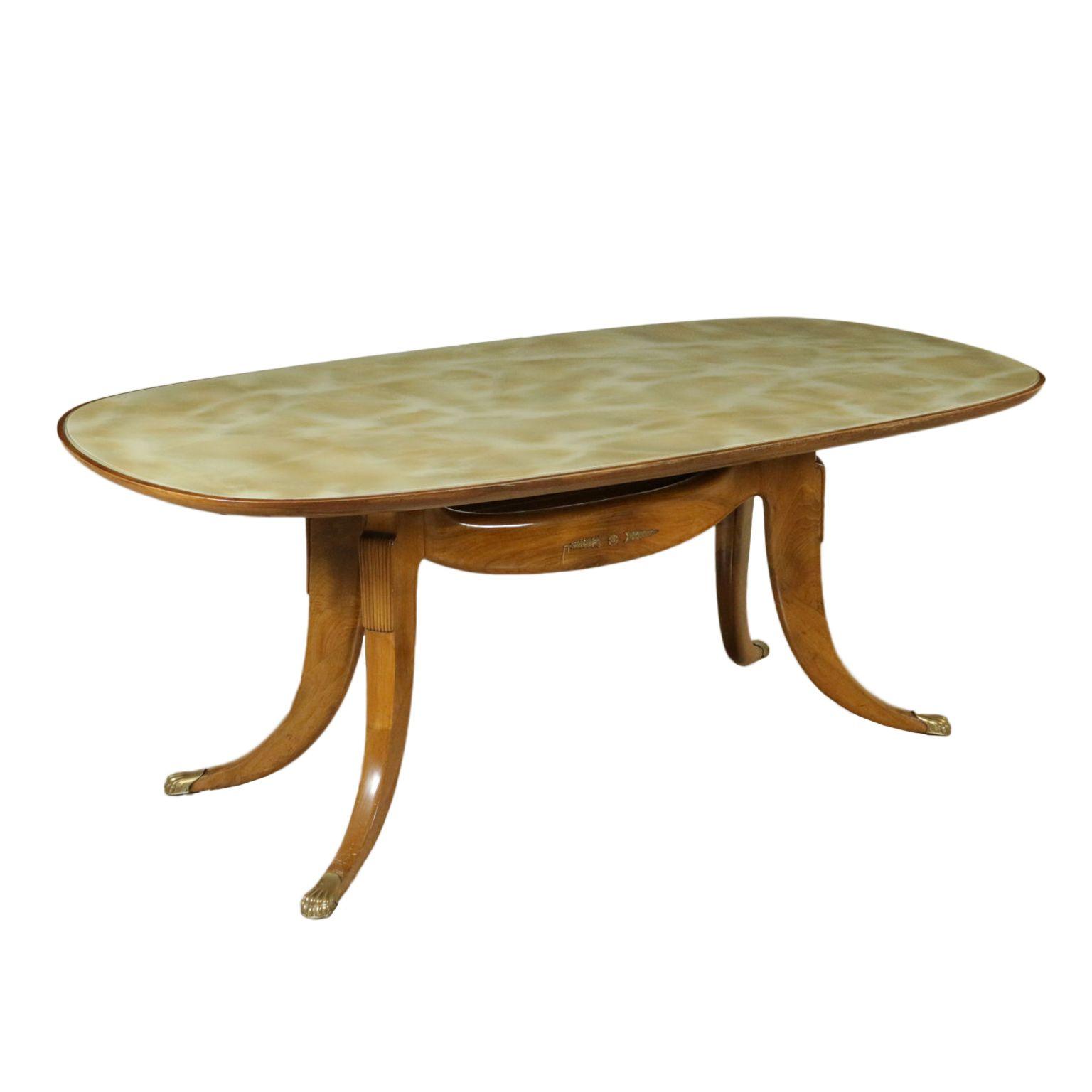 Tavolo Anni 50 60 Legno Di Faggio Decori In Ottone Piano In Vetro Retro Trattato Effetto Marmo Tavolo Tavolino Da Caffe Tavolo Marmo