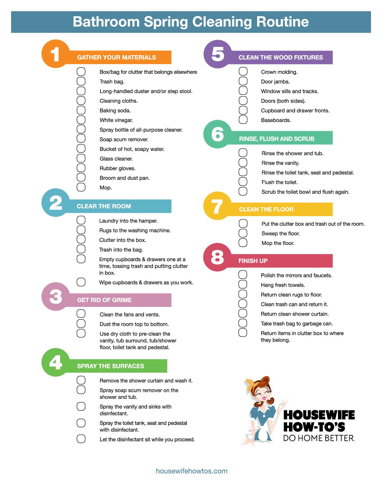 Printable Cleaning Checklists Via Housewifehowtos Spring Cleaning Bathroom Cleaning Checklist Spring Cleaning Checklist