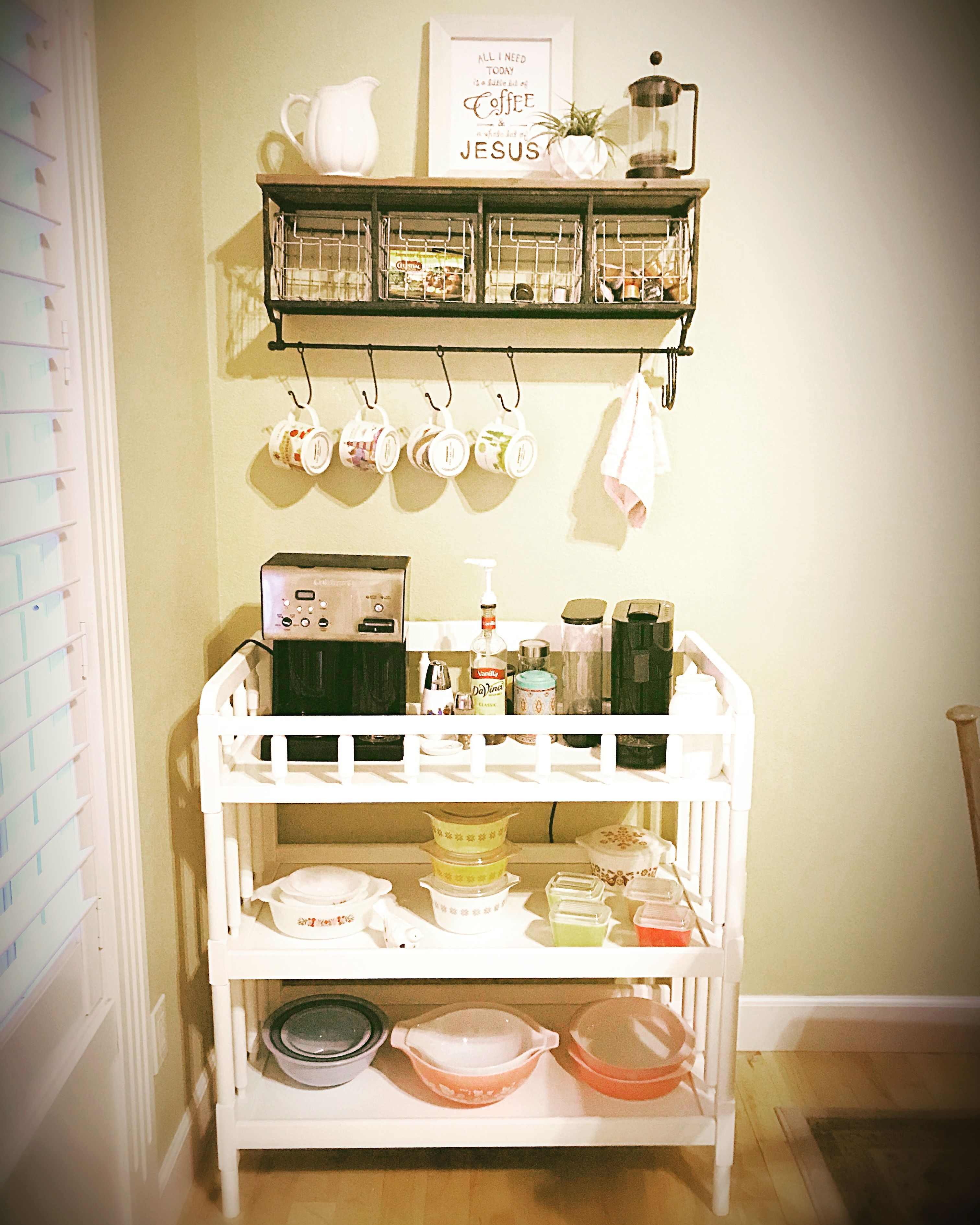 Baby changing table turned coffee station Furniture