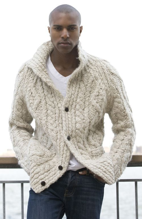 Men's Beige Knit Cardigan, White V-neck T-shirt, Navy Jeans | Man ...