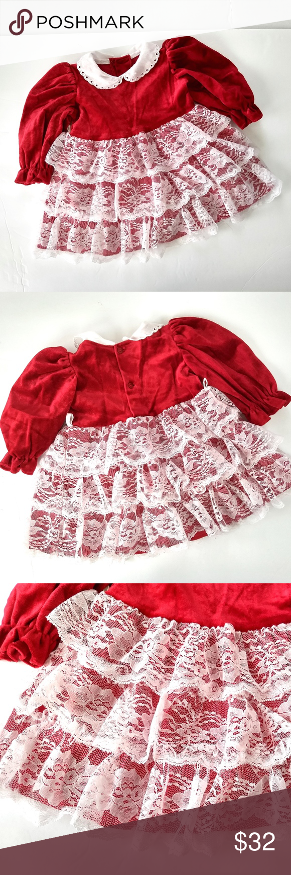 b75da409cb9 Vintage Toddler 18 mo Christmas Dress Red Velvet Vintage Toddler Girls Christmas  Dress Size 18 months Color  Red and White Velvet Top. Tiered Lace Skirt.