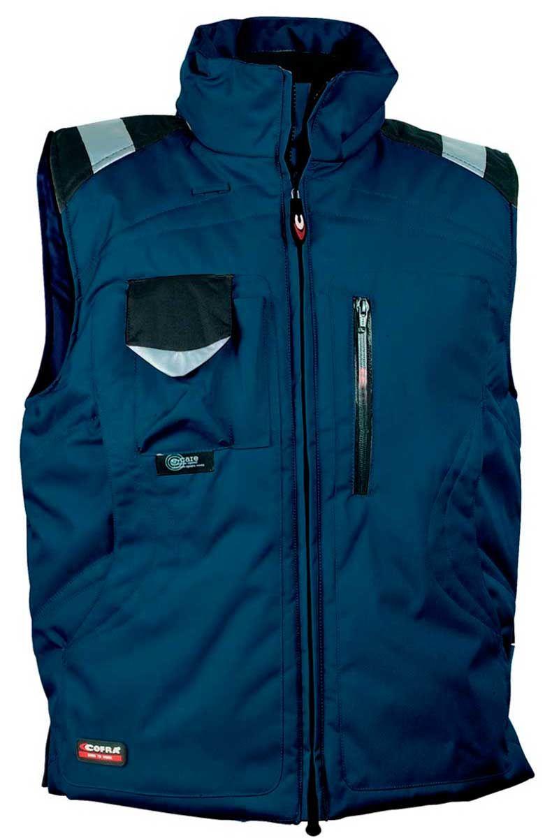 cc0c6fbe80a El chaleco de trabajo multibolsillos de Cofra lleva inserto reflectante 3M,  bolsillo portamóvil con tejido
