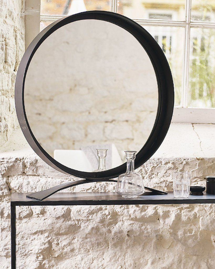 Mirrordeco Com Free Standing Mirror Round Black Frame