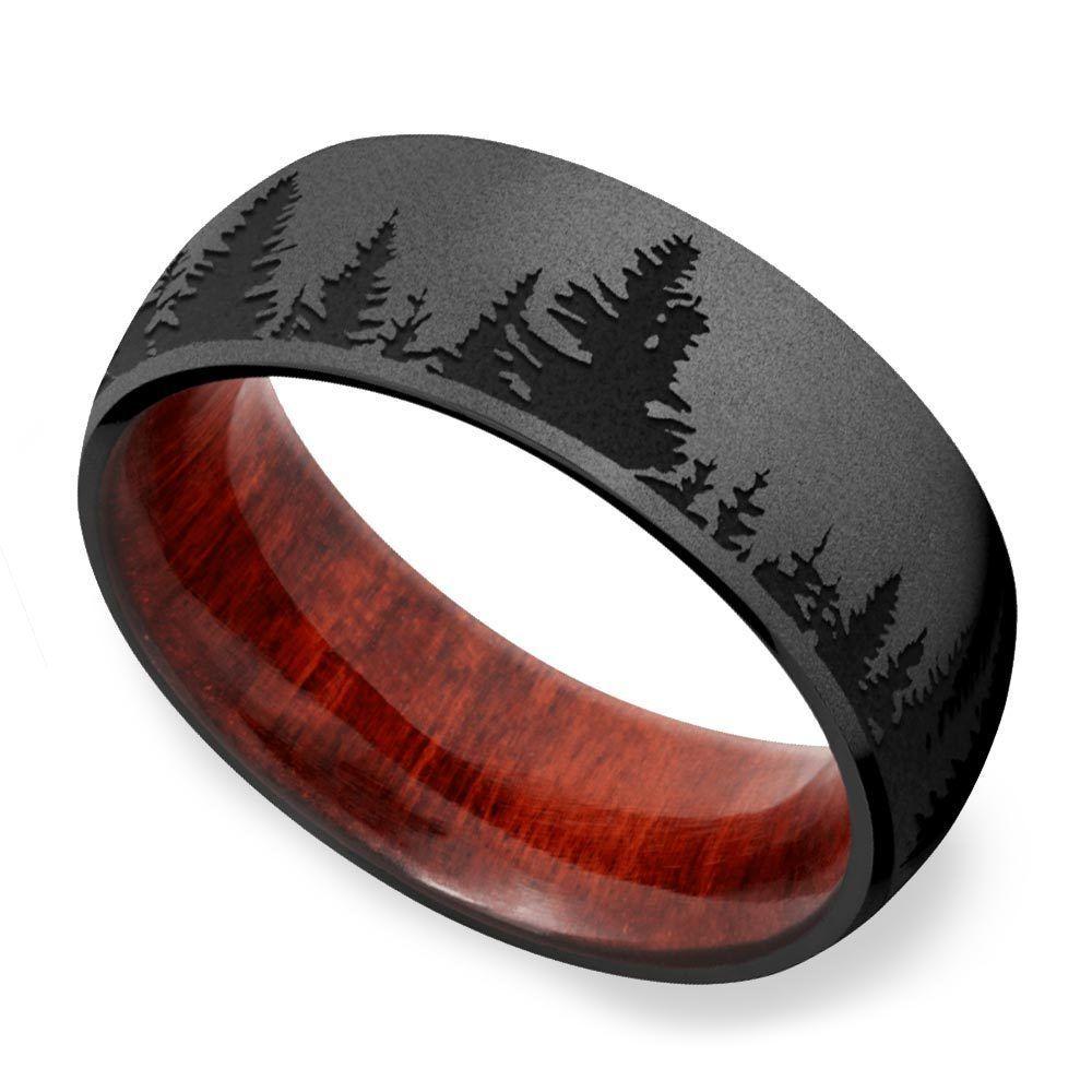 Night Forest Pattern Zirconium Mens Band Men S Wedding Ring Mens Wedding Rings Rings For Men