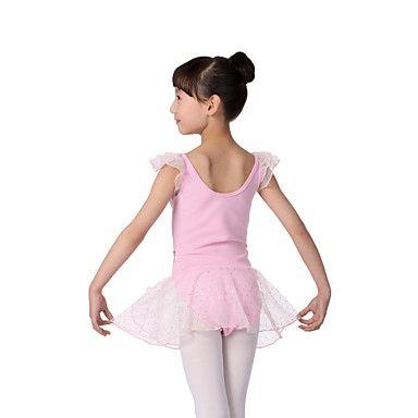 rendimiento de algodón mangas cortas dacewear leotard con el tutú vestido de ballet para niños más colores – USD $ 24.99