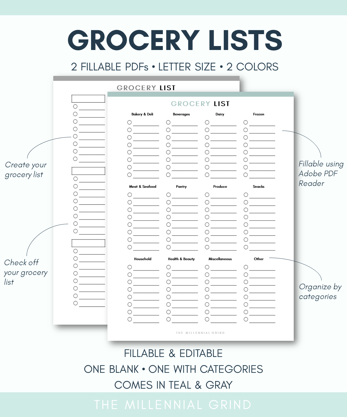 Grocery List Printable Page