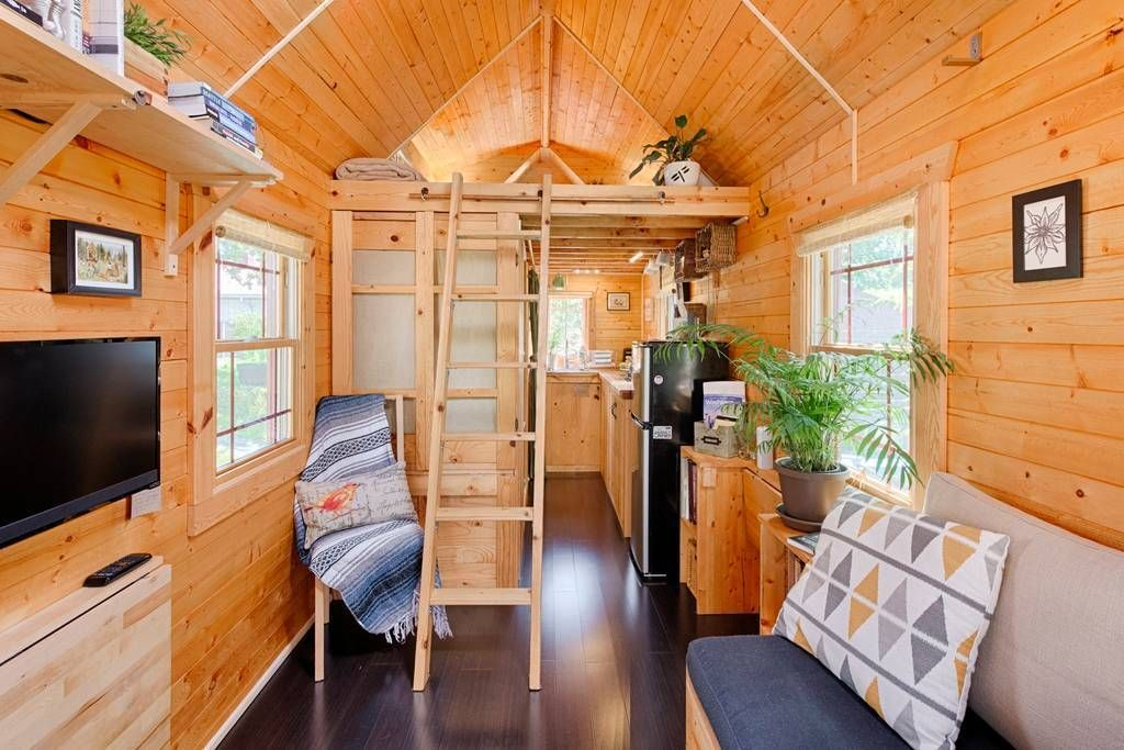 The Self Built Tiny Tack House In Seattle In 2020 Tiny Houses For Rent Tiny House Living Room Tiny House Bedroom