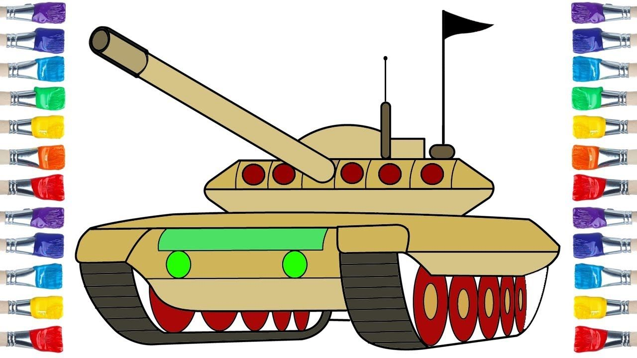 How to draw a tank 💖 Tank coloring and drawing for Kids ...
