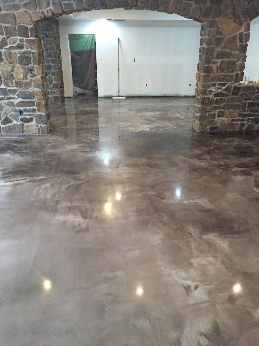 A Coffee And Pearl Designer Metallic Epoxy Floor