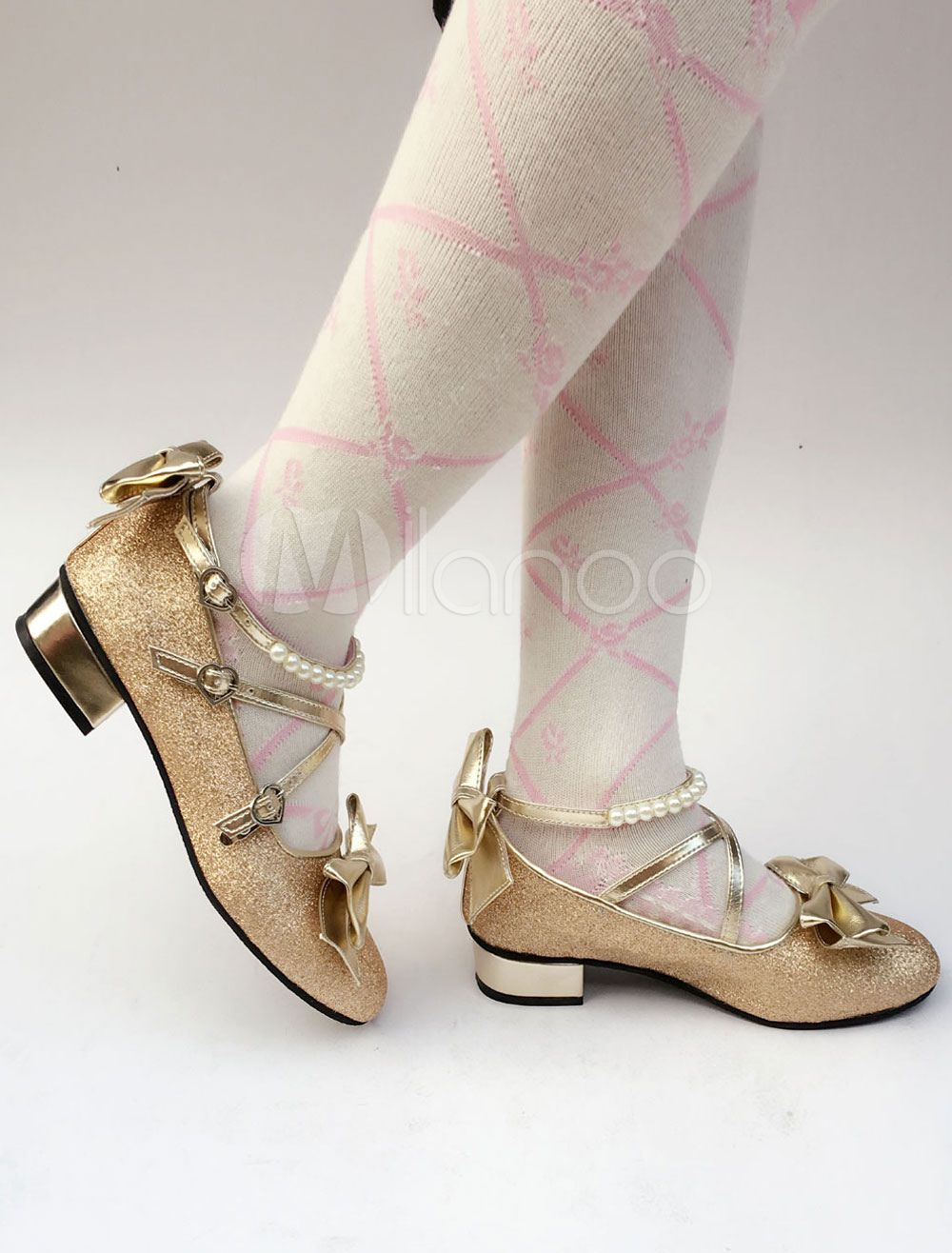 4ee91b9dcad Sweet Lolita Shoes Gold Glitter Pearl Bow Cross Front Heeled Lolita ...