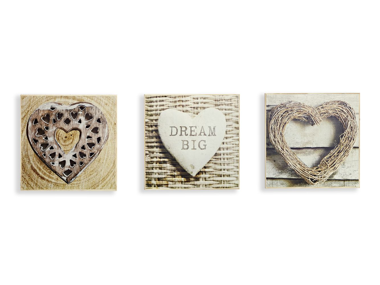 Rustic Hearts Set Of 3 Art By Arthouse