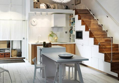 Soluzioni Salvaspazio Cucina : Come arredare una mansarda con soluzioni salvaspazio cucina con