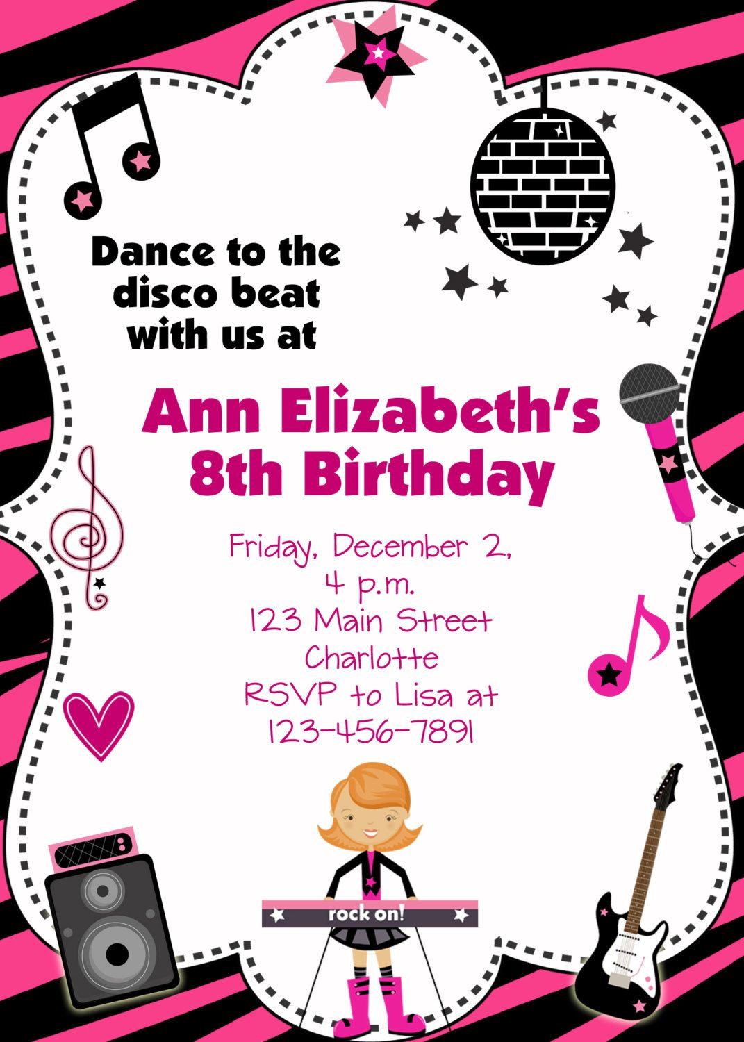 Invitation For Dance Party Dance Party Birthday Invitation Custom ...