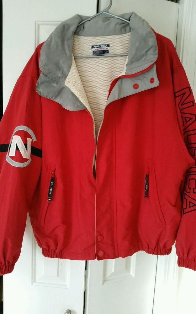 Vintage 90 S Nautica Competition Jacket L Large Sailing Full Zip Red Neon Basic Jackets Vintage Outfits Athletic Fashion