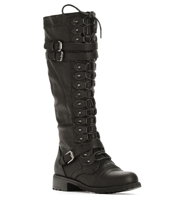 Black Lace-Up Tall Combat Boots