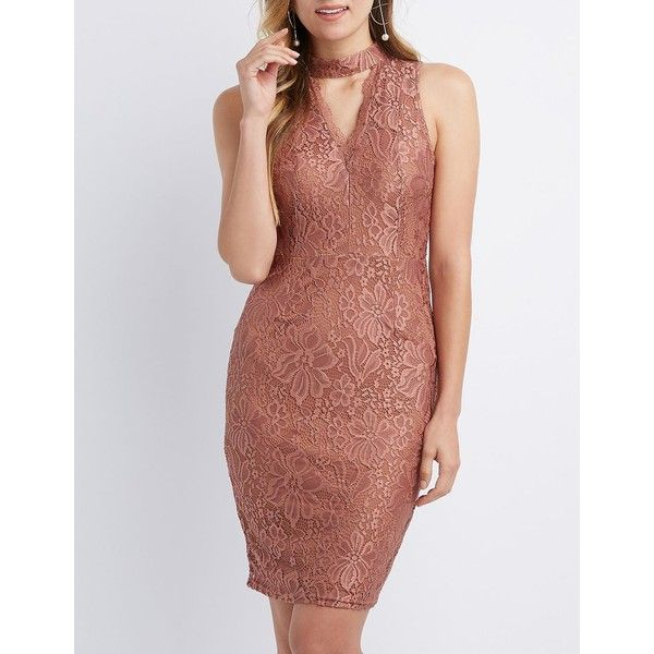 89a892ad3d71 Charlotte Russe Choker Neck Lace Bodycon Dress ($30) ❤ liked on Polyvore  featuring dresses, mauve, body con dress, sexy bodycon dresses, sexy lace  dress, ...