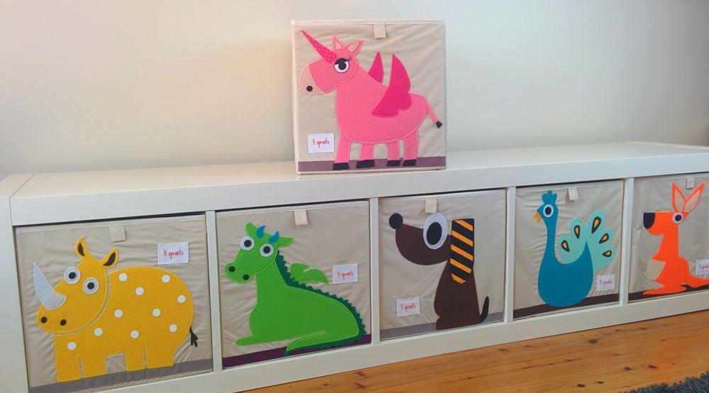 Toy Storage Box 3 Sprouts KIDS 6 Animal Designs Dog, Dragon, Rhino, Unicorn  NEW