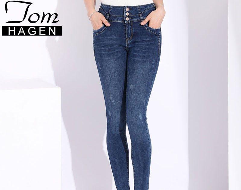 1ed2024994b4b Cheapest High Waist Jeans Women's Plus Size Blue Pants Women Slim Casual  Stretch Skinny Jeans Elastic Denim Pants Woman Pencil Trousers